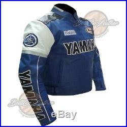 0820 Yamaha Bleu Motard Gear Cuir Veste Moto Protection Moto Manteau