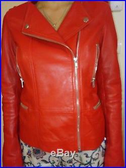 1.2.3 blouson/veste a cuir de mouton rouge