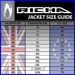 30% de Réduction Richa Tg2 Cuir Noir Imperméable Moto Cruiser Veste D30