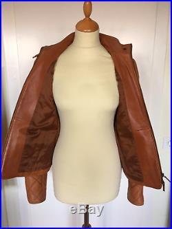 800$ RALPH LAUREN Leather jacket camel Veste blouson cuir camel matelassé