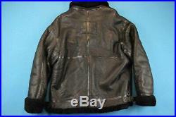90s Walter Davoucci Veste Vintage Hommes XXL Shearling Cuir Blouson Bomber