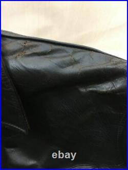 AERO LEATHER Authentique Avant Trimestre Cuir de Cheval Blouson Noir 40 Japon