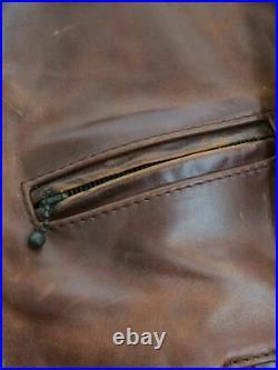 AERO LEATHER Authentique Marron Avant Trimestre Cuir de Cheval Blouson 36 Used