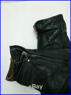 AERO LEATHER Co Authentique Cuir Vachette Veste Blouson Noir Taille 42 Utilisé