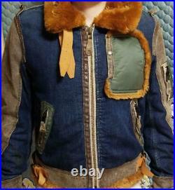 AVIREX B-3 Boa Jeans Vol Veste Extérieur Manteau Blouson Cuir Homme Rare Origine