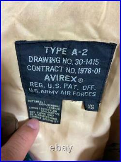 AVIREX Cuir Vol Veste Extérieur Blouson Type A-2 Homme XS de Vache Armée Utilisé