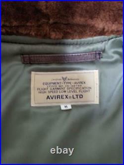 AVIREX Cuir Vol Veste Extérieur Manteau Blouson B-3 Homme M Marron Kaki Boa Used
