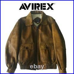 AVIREX Type G-1 Veste Cuir Blouson Extérieur Unisexe Homme L Marron U. S Marine