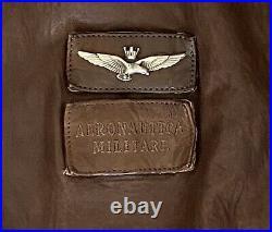 Aeronautica Militaire Blouson En Cuir Marron Armée De Lair Italy Authentique