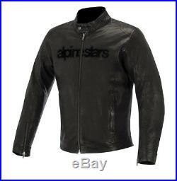 Alpinestars HUNTSMAN Noir Vintage Rétro Hommes Blouson moto veste en cuir