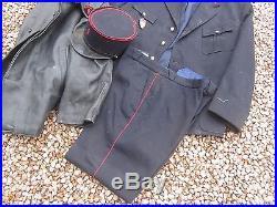 Ancien Uniforme Pompier Kepi + Veste + Pantalon + Blouson Cuir