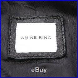 Anine Bing Veste en Cuir Gr. L Noir Femmes Veste Cuir Neuf Blouson Motard