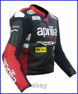 Aprilia Homme Motor Veste En Cuir Moto Chaqueta Cuero Motorrad Leder Jacke Ce