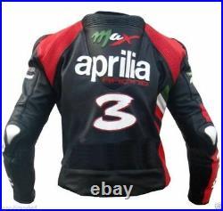 Aprilia Homme Motor Veste En Cuir Moto Chaqueta De Cuero Motorrad Leder Jacke Ce