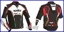 Aprilia Homme Veste en Cuir de Moto Courses MOTOGP Vestes de Motard en Cuir CE