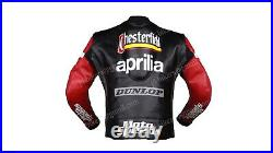 Aprilia Hommes Moto Motard Balade CE Protecteur Rue Courses Véritable Cuir Veste