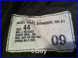 Authentique Vintage Veste Cuir, Flyer's, Blouson Bomber Intermédiaire, Type G-1