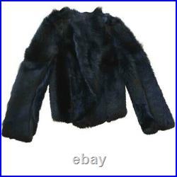 BALENCIAGA 2150 Blouson Cuir Fourrure NEUF T. 40 New Black Fur Leather Jacket