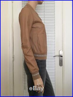 BLOUSON BOMBER REVERSIBLE CUIR SABLE/ARGENT PATRIZIA PEPE Taille 38/40 porté 1f