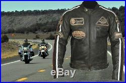 BLOUSON CUIR MOTO ROADSTER. Moto Veste De Harley-Chopper Marron XL