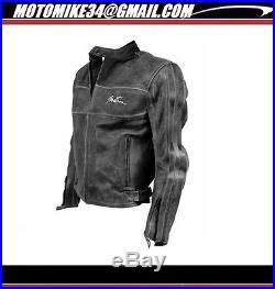 BLOUSON HOMME VINTAGE CUIR NOIR TAILLE XL Mens Retro réel Veste cuir BLACK