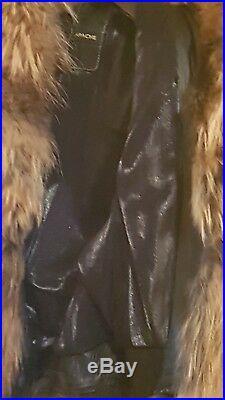 BLOUSON / VESTE femme en cuir agneaux marron Col et bords fourrure Taille 38