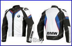 BMW COURSES Cuir Biker Veste Hommes Sports Cuir Veste Moto Cuir Veste EU-48-60