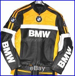BMW Hommes Courses Moto Cuir Veste Cuir de vachette Armures Des sports Veste
