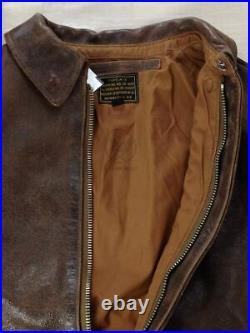 BUZZ RICKSON'S Authentique Cuir Brun A-2 Blouson Vol Taille Veste 38 Utilisé