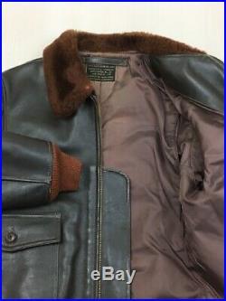 BUZZ RICKSON'S Authentique Cuir G-1 Blouson Vol Veste Marron Taille 40 Used 67cm