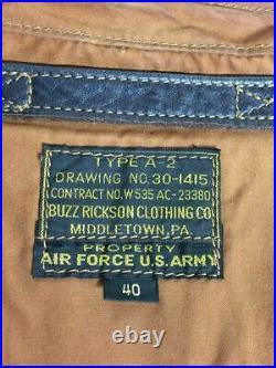 BUZZ RICKSON'S Authentique Cuir de Cheval A-2 Veste Blouson Marron Taille 40 Usé
