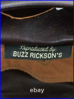 BUZZ RICKSON'S Authentique Main Aniline Teinture Cuir de Cheval Blouson Veste 40