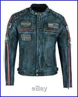 Biker Veste Cuir, Blouson Homme, Harley Rider Jacket, Kustom Veste, MC Jacket