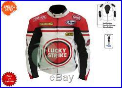 Blanc Lucky Strike Moto Veste en Cuir Course Veste en Cuir Veste Décontractée