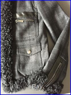 Blouson Barbara Bui gris carreaux cuir veste