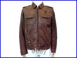 Blouson Blauer Dallas T52 L Veste En Cuir Marron Brown Leather Jacket Coat 760