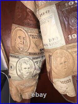 Blouson Cuir Homme Marco By Styleo Triple XL Broderies American Dollars Rappeurs