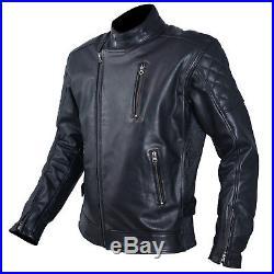 Blouson Cuir Homme Moto Protections CE Veste Vintage Thermique