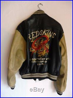 Blouson Cuir Homme Vintage Dragon Teddy Redskins XXL Veste Men's