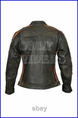 Blouson Cuir Moto Femme, Veste Moto, Vintage, Marron, Biker, MC Jacket, Retro