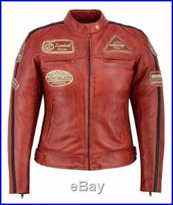 Blouson Cuir Moto Femme, Vintage, Cafe Racer, Jacke, Veste Rocker Retro Rouge