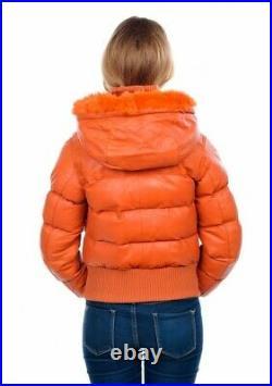 Blouson Doudoune Neuf Femme Arturo Cuir D'agneau Orange Taille L