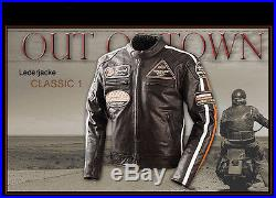 Blouson En Cuir Homme Pour Moto, Classic Vintage, Retro, Veste Motard En Cuir L