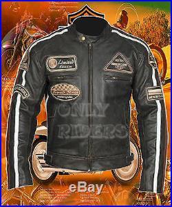 Blouson Homme En Cuir Vintage Moto Veste Leather Jacket Chopper vzvgrqw