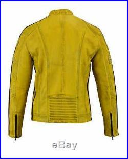 Blouson En Cuir Homme, Vintage, Style Cafe Racer, Veste Cuir, Rocker Jaune Rider