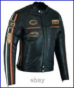Blouson En Cuir Moto Homme, Cafe Racer, Retro, Noir, Orange, Biker Veste, Kustom