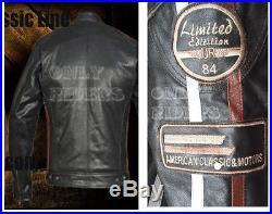 Blouson En Cuir Moto Homme, Vintage, Cafe Racer, Leather Jacket, Veste Biker, XL