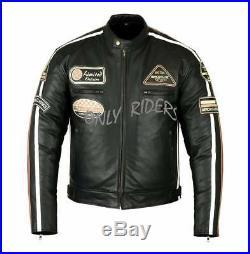 Blouson En Cuir Moto Homme, Vintage, Cafe Racer, Leather Jacket, Veste Moto