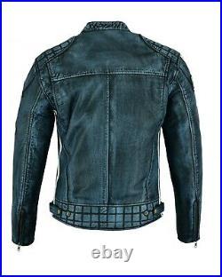 Blouson En Cuir Moto Homme, Vintage, Cafe Racer, Retro, Classic, Biker Veste