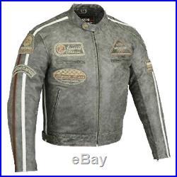 Blouson En Cuir Pour Moto, Motard Veste Pour Homme, Retro Vintage Chopper Blouson